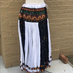 Traditional free-sized cotton Afghani skirt